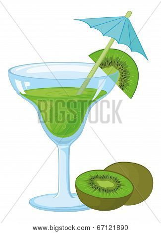 Glass with a green drink and kiwifruit