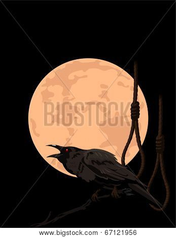 Halloween Crow sitting on a branch and croaks against a full moon and rope halter. Raster version.