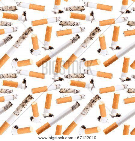 Seamless Pattern Of Cigarette Butt