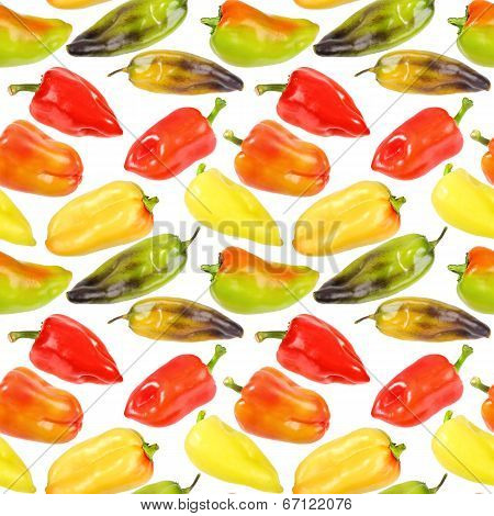 Seamless Pattern Of Multicolored Peppers