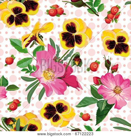 Seamless Pattern Of  The Roses, The Pansies And  The Berries