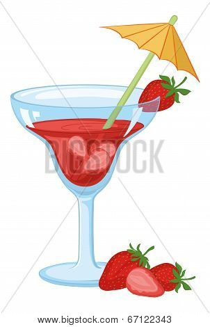 Glass with drink and strawberries