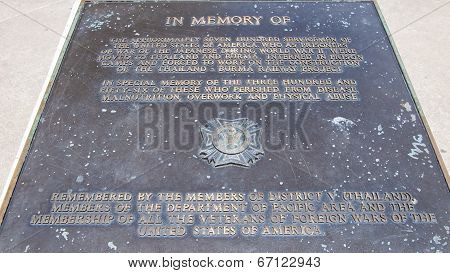 Kanchanaburi, Thailand - May 23, 2014: Memorial Stone In Memory Of The War Prisoners Who Lost Their
