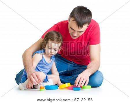 Kid Girl And Father Play Together With Cup Toys