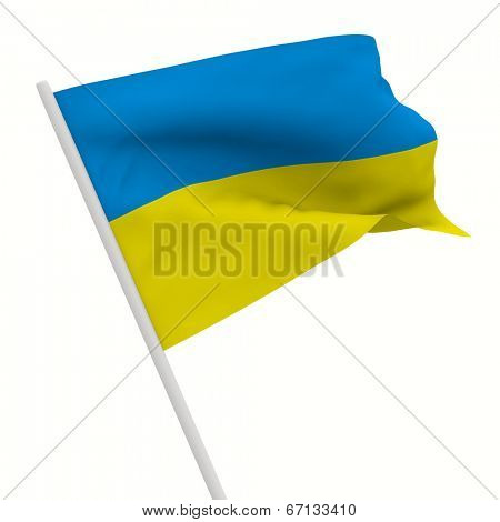 ukraine waves flag on white background. Isolated 3D image