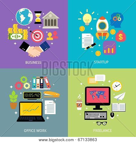 Business types concept flat