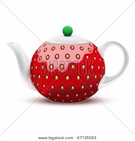 Teapot In The Form Of A Large Strawberry. Vector Illustration.