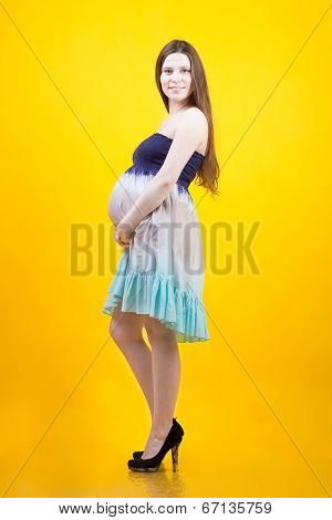 Woman Hugging Pregnant Belly On The Yellow Background