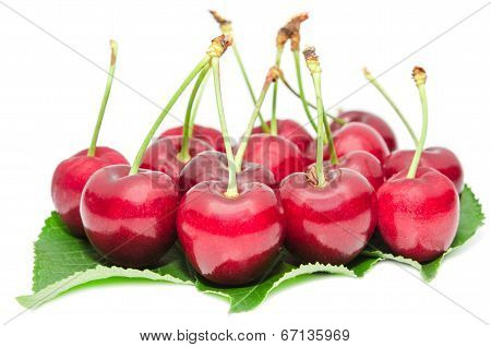 Tasty Ripe Cherry Berries Juicy And Sweet Fruits