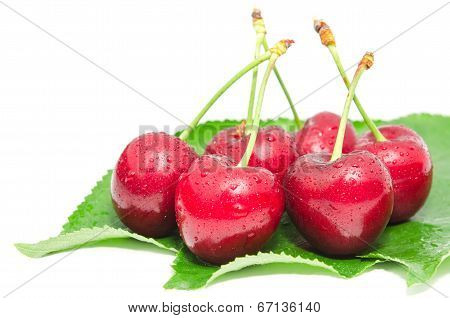 Wet Ripe Cherry Berry Fruits With Water Droplets