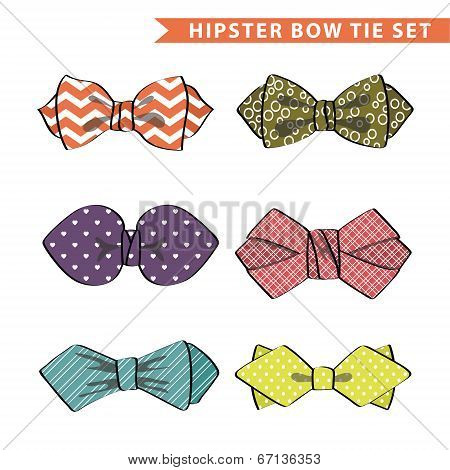Several Colored  Bow Tie With Simple Pattern.set