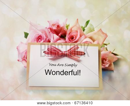 You Are Simply Wonderful Message With Roses