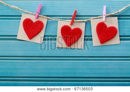 Hand-crafted Felt Hearts Hanging With Clothespins