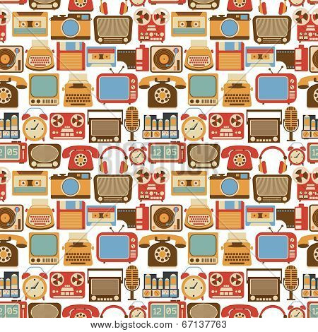 Vintage gadget seamless pattern