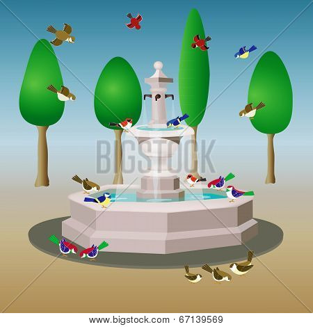 Fountain and birds