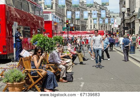 Traffic-free Regent Street, London