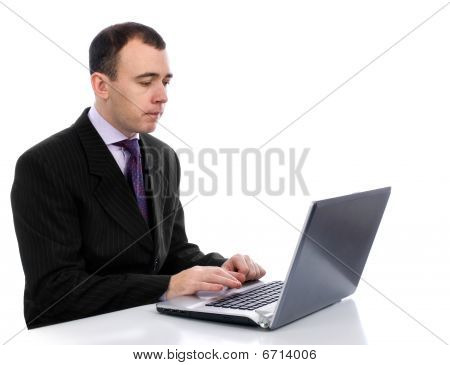 Business Man Working With Laptop