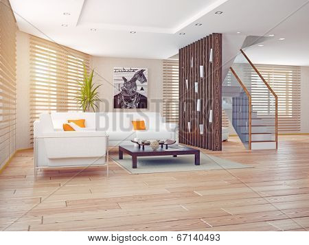 modern living room interior. contemporary 3d concept