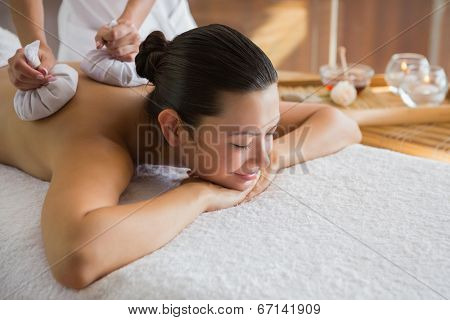 Content brunette enjoying a herbal compress massage at the health spa