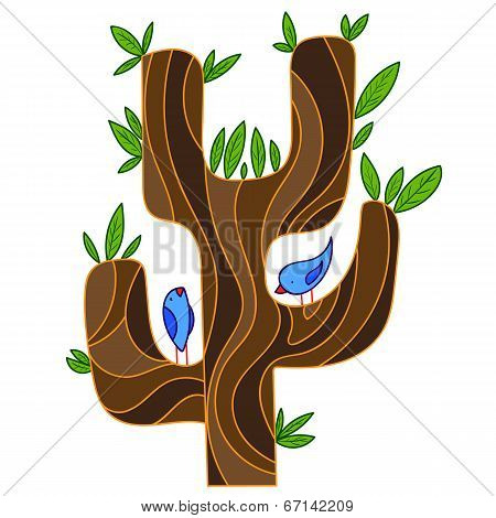 abstract stylized tree with songbird