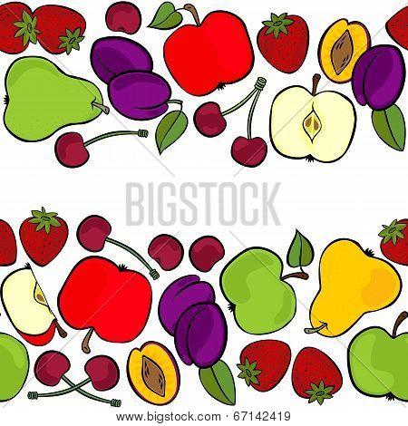 Delicious ripe fruit mix isolated on white background colorful seamless double horizontal border