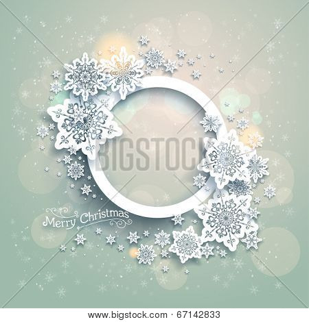 Christmas background with snowflakes and bokeh lights. Place for text