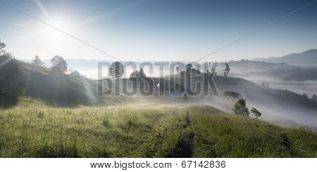 Panorama Mountain Village. Sunny morning with fog. Road in the grass leading to the house. Paradise. Carpathian mountains, Ukraine, Europe