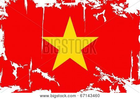 Vietnam grunge flag. Vector illustration.