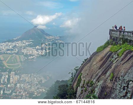 Tourists On Corcovado Mountain