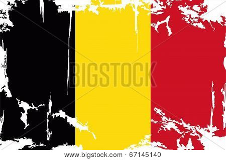 Belgian grunge flag. Vector illustration