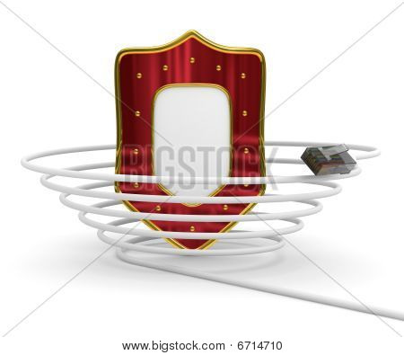 Protected Global Network Internet. Isolated 3D Image