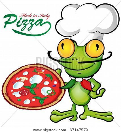 Chef Frog Cartoon With Pizza