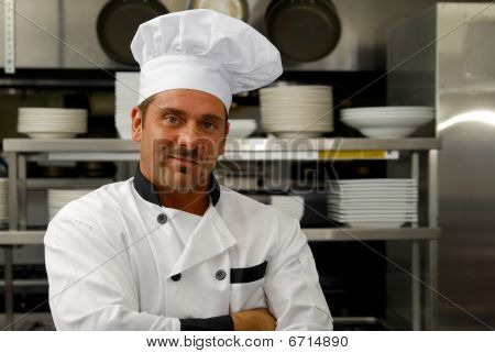 Smiling Chef In Uniform