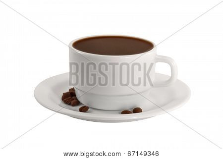 A Cup Of Coffee With Coffee Beans On A Plate