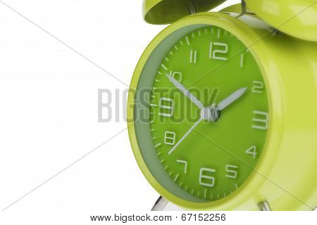 Green Alarm Clock Isolated On White