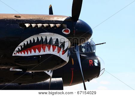 Painting Shark Teeth On The Engine Cowlings Of The Avro Lancaster