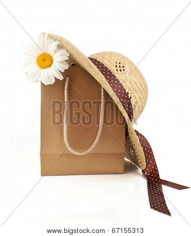 Straw Hat, Shopping Bag  Daisy Flower