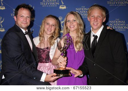 LOS ANGELES - JUN 20:  Scott Martin, Samantha Martin, Lauralee Bell, Christian Martin at the 2014 Creative Daytime Emmy Awards at the The Westin Bonaventure on June 20, 2014 in Los Angeles, CA
