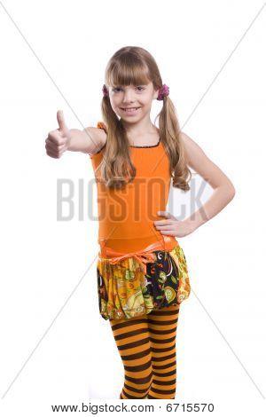Girl Wearing Orange Dress Shows Ok