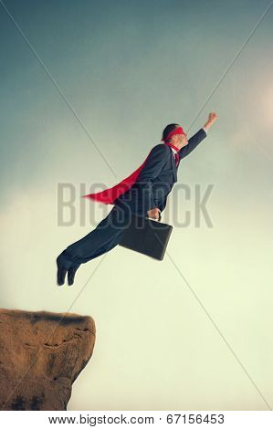 Flying Superhero Businessman