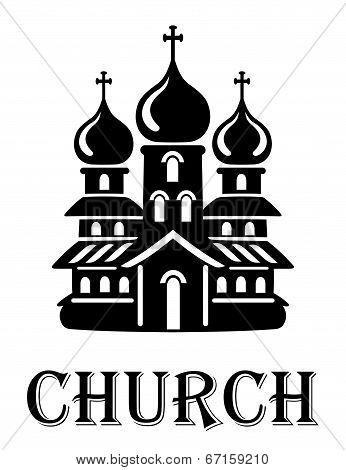 Black and white church icon