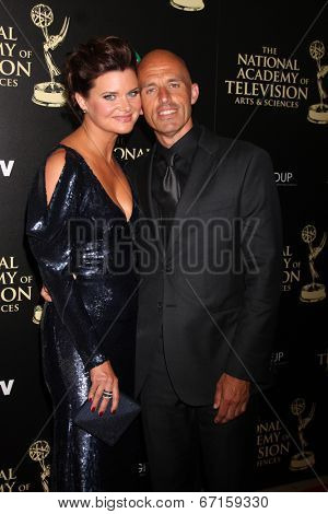 LOS ANGELES - JUN 22:  Heather Tom, James Achor at the 2014 Daytime Emmy Awards Arrivals at the Beverly Hilton Hotel on June 22, 2014 in Beverly Hills, CA