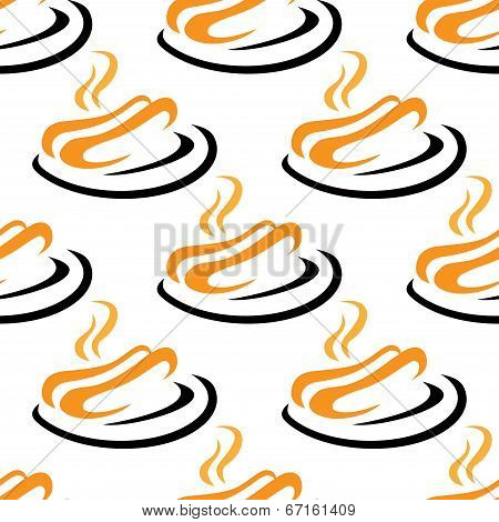 Steaming hotdogs seamless pattern