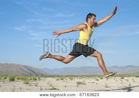 Runner Flying In Air