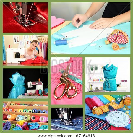 Fashion design collage. Sewing items