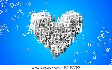 Love Blue Musical Note Particles 3D