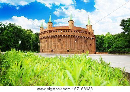 View of Krakow Barbican (Basztowa) in summer