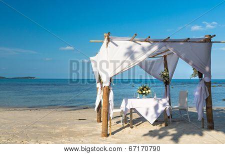 Wedding ceremony dining place on a tropical beach of Koh Samui island, Thailand