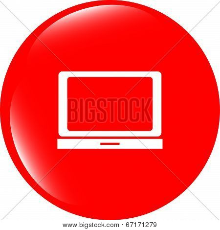 Notebook Icon On Glossy Web Round Button