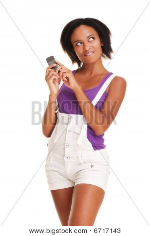Thoughtful Young Woman With Phone